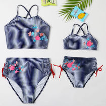 Mommy and Me Embroidery High Waisted Lace Up Backless Bikini Sets Matching Swimwears