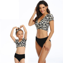 Mommy and Me Print Leopard Tropical Leaves Bikini Sets Matching Swimwear
