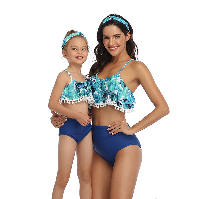 Mommy and Me Pompom Ruffles Bikini Sets Matching Swimwear