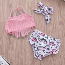 Baby Toddle Girls Tassels Bikini Prints Dinosaurs Flowers Shorts Swimwear Sets 0-2 Years