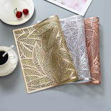 Rectangle Leaves Hollow Out Waterproof Insulation PVC Placemats