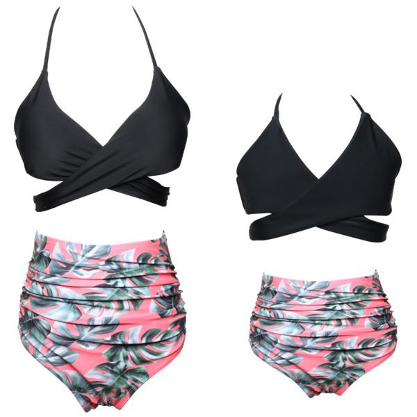 Mommy and Me Cross Over Top Tropical Leaves Bikini Sets Matching Swimwear