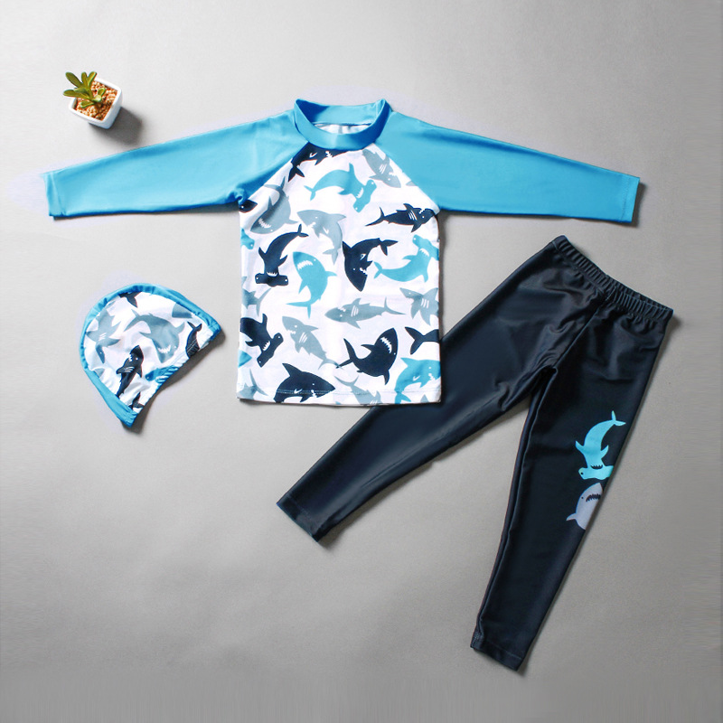 Kid Boys Underwater Diving Print Sharks Swimwear Sets Long Sleeves Top and Pant With Swim Cap