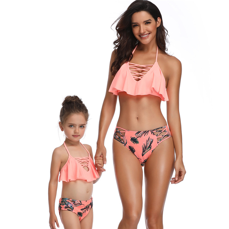 Mommy and Me Lace Up Ruffles Top Bikini Sets Matching Swimwear