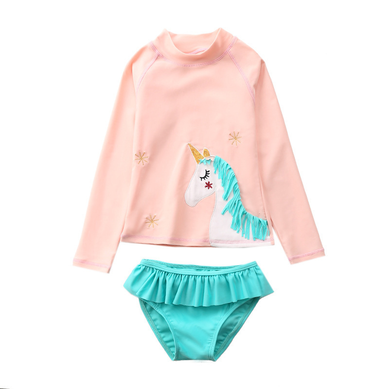 Toddle Kids Girls Prints 3D Tassels Unicorn Tow Pieces Swimwear