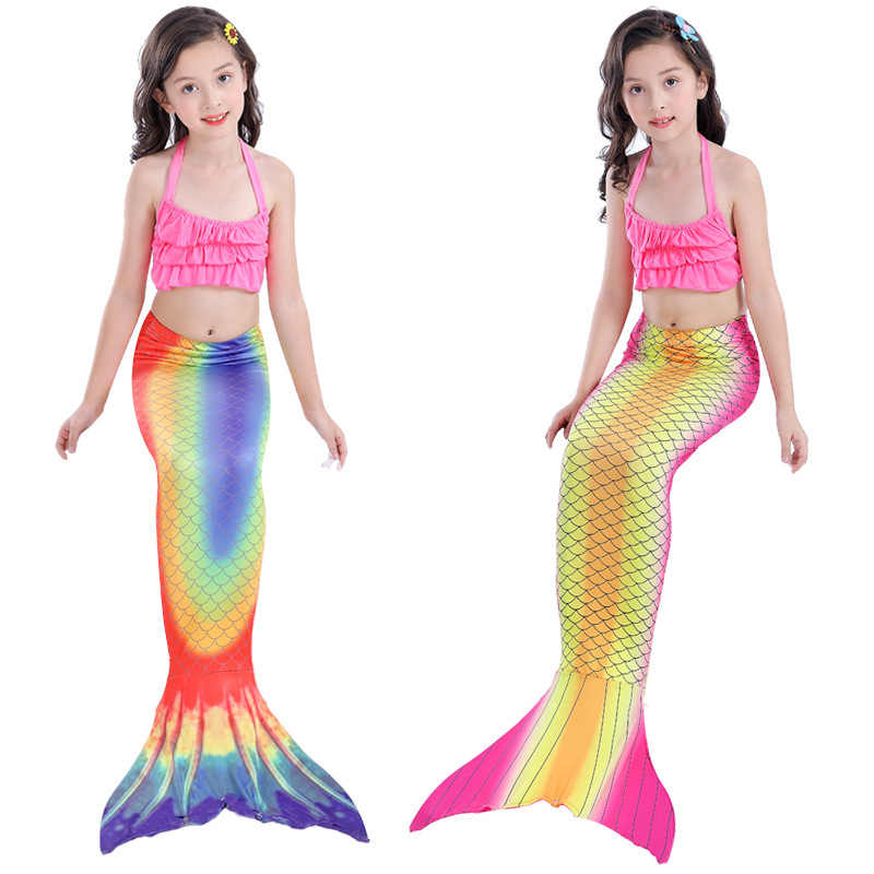 3PCS Kid Girls Ombre Rainbow Scale Mermaid Tail Bikini Sets Swimwear