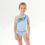 Mommy and Me One Shoulder Ruffles Dots Bikini Sets Matching Swimwears