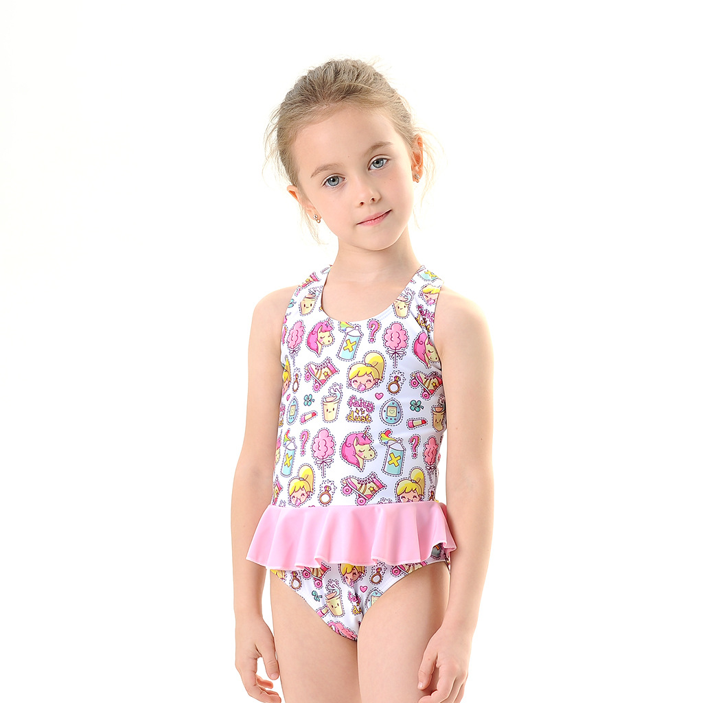 Toddle Kids Girls Cute Prints Unicorn Ruffles Swimsuit Swimwear