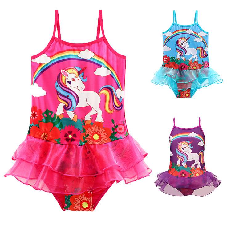 Toddle Kids Girls Print Rainbow Unicorn Flowers Tutu Ruffles Swimsuit Swimwear