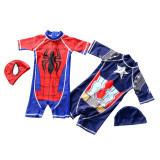 Kid Boys Print Captain America Stars Swimsuit With Swim Cap