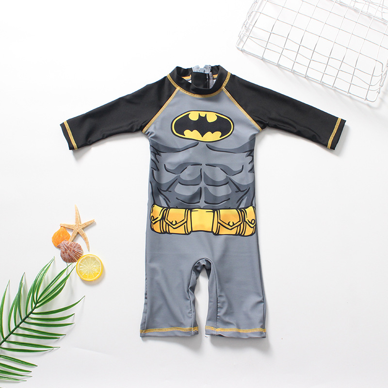 Toddler Kid Boys Print Grey Bat Man Swimwear