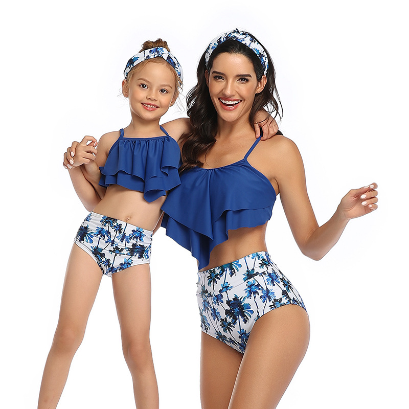 Mommy and Me Mesh Ruffles Tropical Leaves Bikini Sets Matching Swimwear