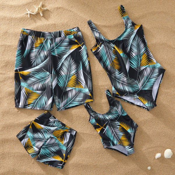 Family Matching Swimwear Prints Leaves Black Swimsuit and Truck Shorts