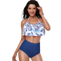 Women Swimsuit Bikinis Sets Ruffles Print Tropical Leaves Coco Swimwear
