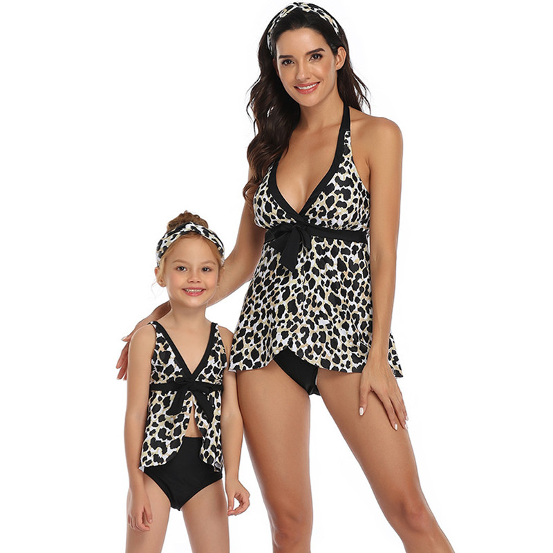 Mommy and Me Leopard Print Tropical Leaves Bikini Sets Matching Swimwears