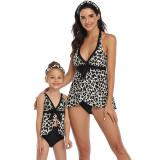 Mommy and Me Leopard Print Tropical Leaves Bikini Sets Matching Swimwears