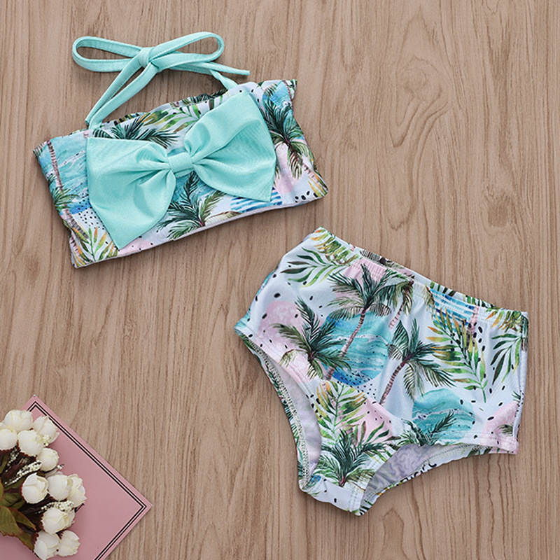 Toddle Kids Girls Bowknot Tube Tops Prints Coconut Tree Beach Bikini Swimwear Sets