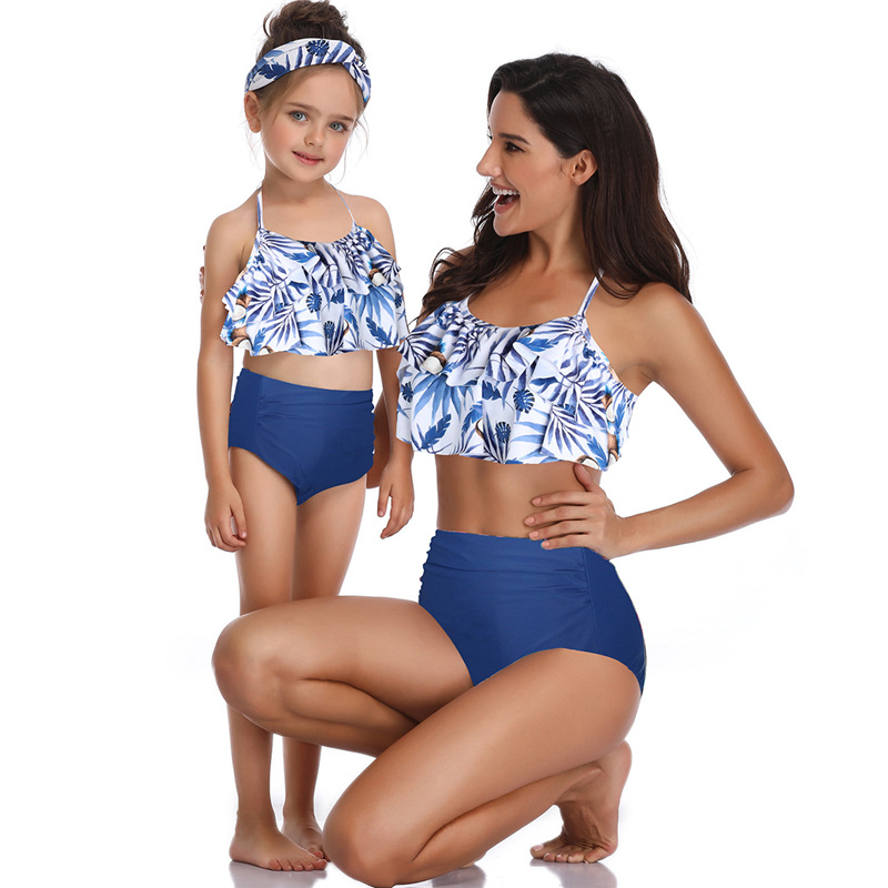 Mommy and Me Print Tropical Leaves Cocos Bikini Sets Matching Swimwears