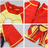 Kid Boys Print Iron Man Swimsuit With Swim Cap