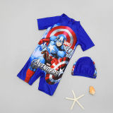 Kid Boys Print Captain America Stars Swimsuit With Swim Cap