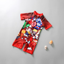 Kid Boys Print Super Man Swimsuit With Swim Cap