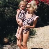 Family Matching Swimwear Pink Leopard Print Ruffles Swimsuit and Truck Shorts