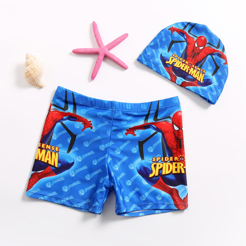 Kid Boys Print Spider Man Swimwear Trunks Swim Boxer Shorts With Swim Cap