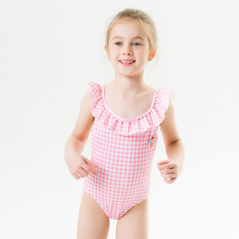 Toddle Kids Girls Ruffles Plaids Swimsuit Swimwear