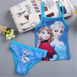 Toddle Kids Girls Print Frozen Elsa Anna Princess Blue Bikinis Sets Swimwear