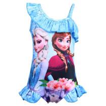 Toddle Kids Girls Print Frozen Princess Flowers Ruffles Swimsuit Swimwear