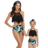 Mommy and Me Mesh Ruffles Tropical Leaves Bikini Sets Matching Swimwear