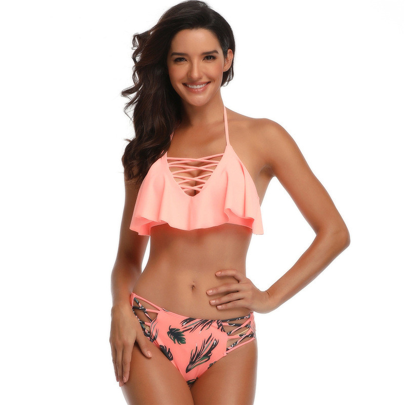 Women Swimsuit Lace Up Ruffles Prints Tropical Leaves Cut Out Bikinis Sets Swimwear