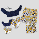 Family Matching Swimwear Prints Sun Flowers Ruffles Bikini Set and Navy Stripes Truck Shorts