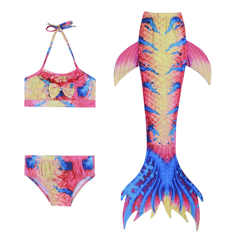 3PCS Kid Girls Flying Fish Shell Mermaid Tail Bikini Sets Swimwear