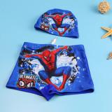 Kid Boys Print Spider Man Swimwear Trunks Swim Boxer Shorts With Swim Cap