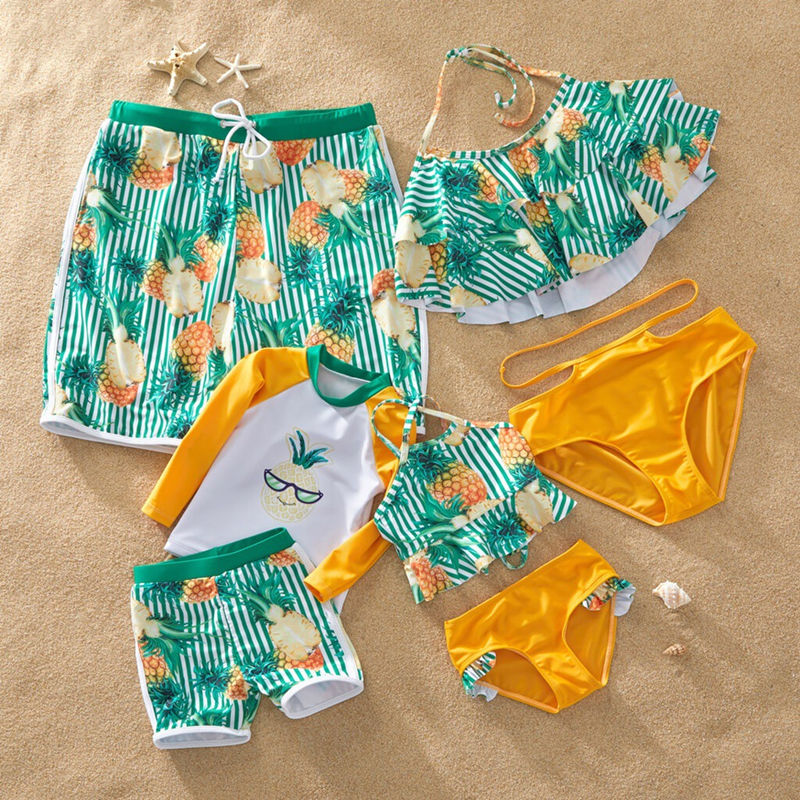 Family Matching Swimwear Green Stripes Ruffles Pineapples Bikini Set and Truck Shorts
