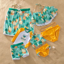 Family Matching Swimwear Green Stripes Ruffles Pineapples Bikini Set and Truck Shorts