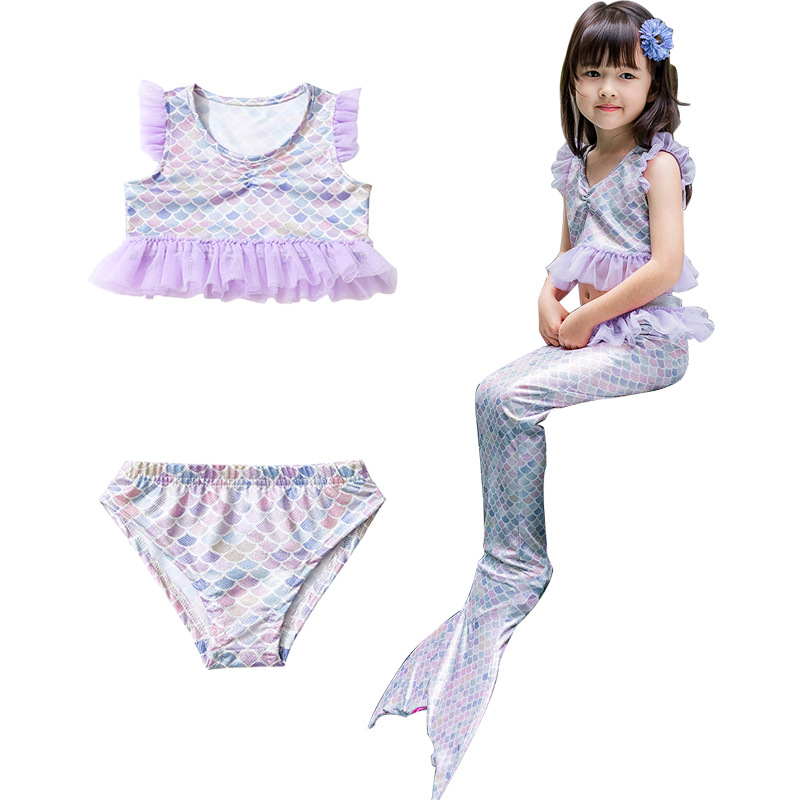 3PCS Kid Girls Ruffles Purple Tutu Scale Mermaid Tail Bikini Sets Swimwear