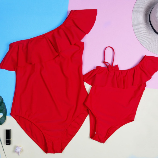 Mommy and Me Red Ruffles One Shoulder Matching Swimwear