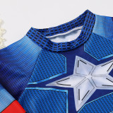 Kid Boys Underwater Diving Print Captain America Swimwear Sets Long Sleeves Top and Pant With Swim Cap