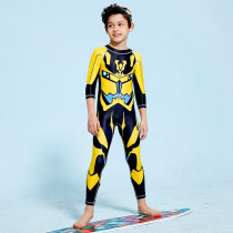 Kid Boys Underwater Diving Print Transformers Swimwear Sets Long Sleeves Top and Pant With Swim Cap