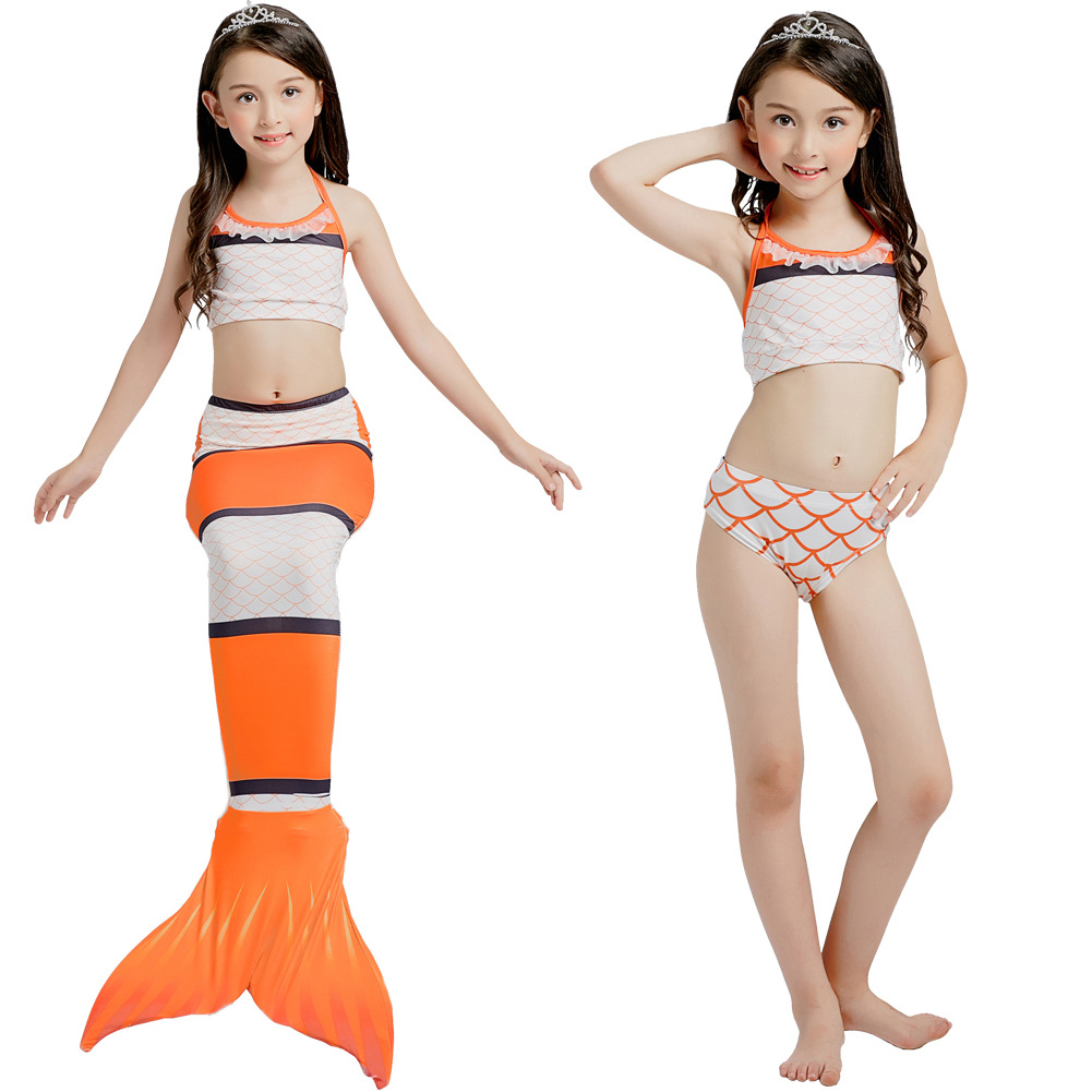 3PCS Kid Girls Clownfish Mermaid Tail Bikini Sets Swimwear