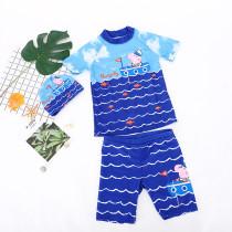 Kid Boys Print Peppa George Pig Swimsuit Tow Pieces With Swim Cap