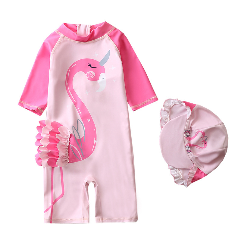 Toddle Kids Girls Print Pink 3D Flamingo Swimsuit Swimwear With Cap