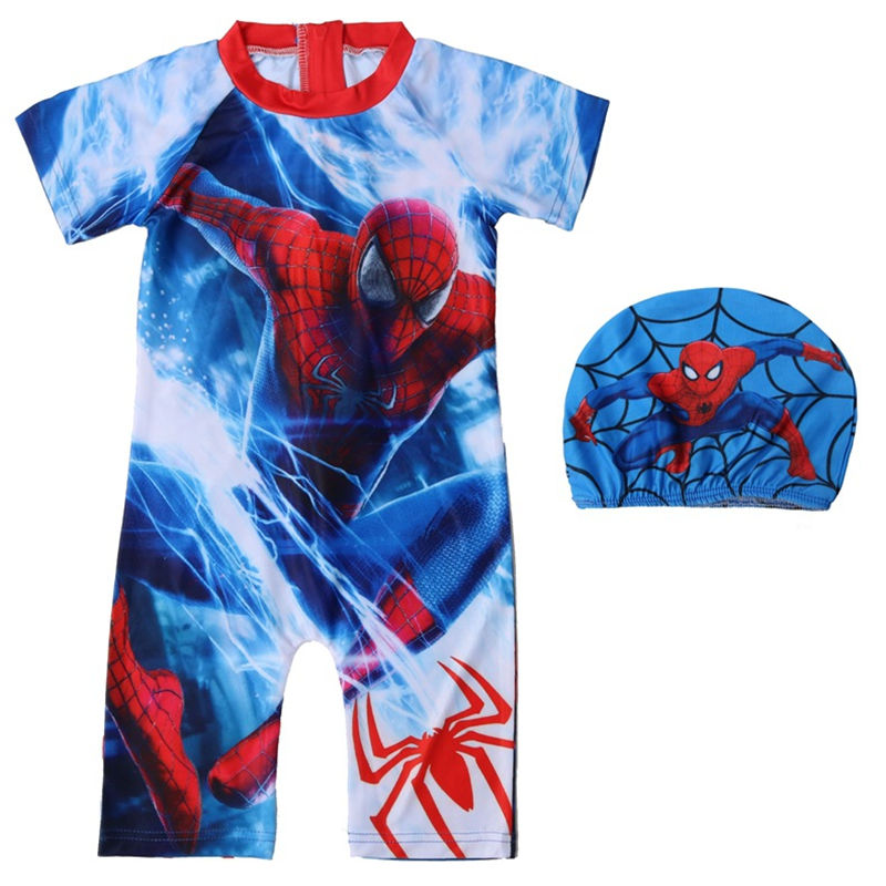 Kid Boys Print Spider Man Swimsuit With Swim Cap