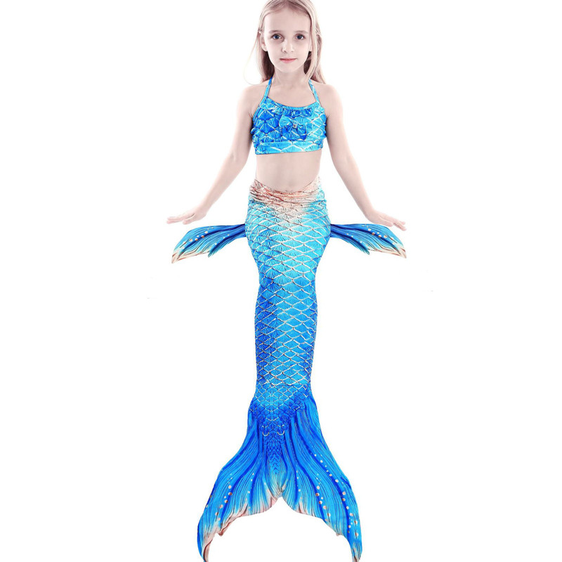 3PCS Kid Girls Ombre Scale Mermaid Tail Bikini Sets Swimwear