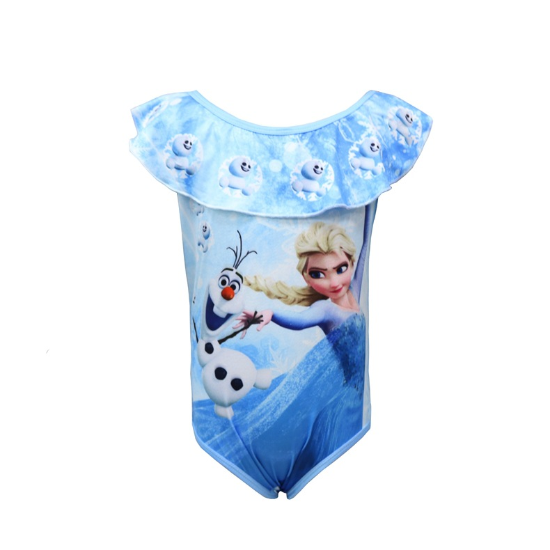 Toddle Kids Girls Blue Print Frozen Elsa Princess Ruffles Swimsuit Swimwear