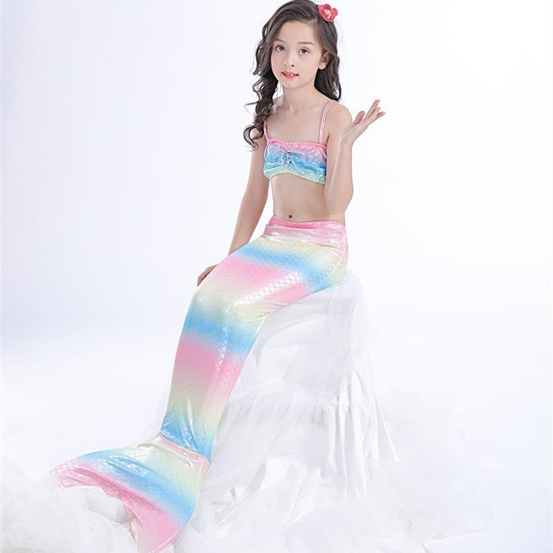3PCS Kid Girls Rainbow Scales Mermaid Tail Bikini Sets Swimwear