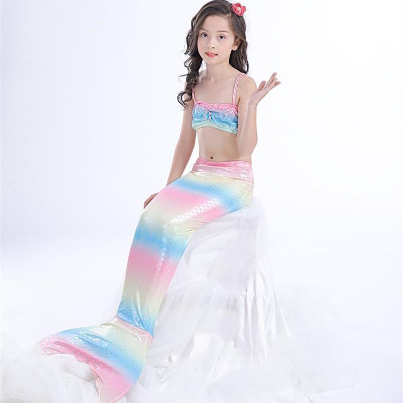 3PCS Kid Girls Rainbow Scales Mermaid Tail Bikini Sets Swimwear