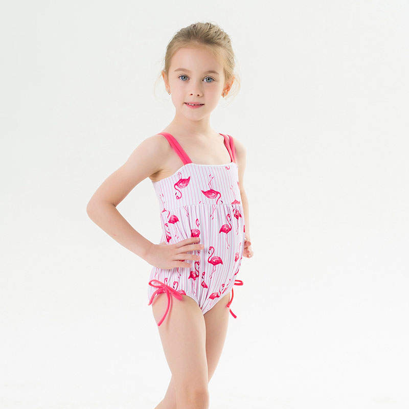 Toddle Kids Girls Pink Stripes Prints Flamingos Slip Swimsuit Swimwear